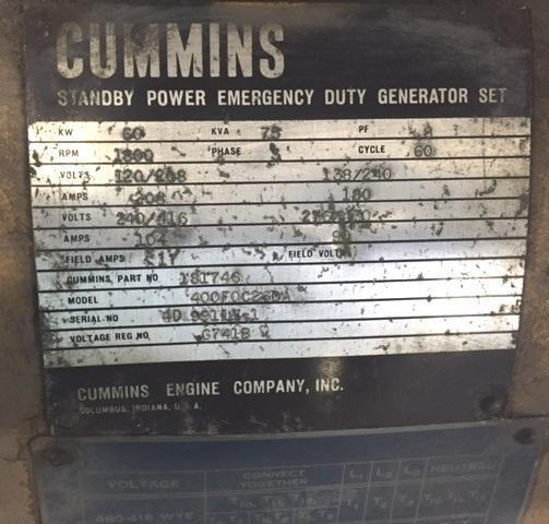 Cummins Standby Emergency Duty Generator Set, Model 400FOC26DA, 60 KW, 75 KVA, 3 Phase, Diesel, Water Cooled, Low Price