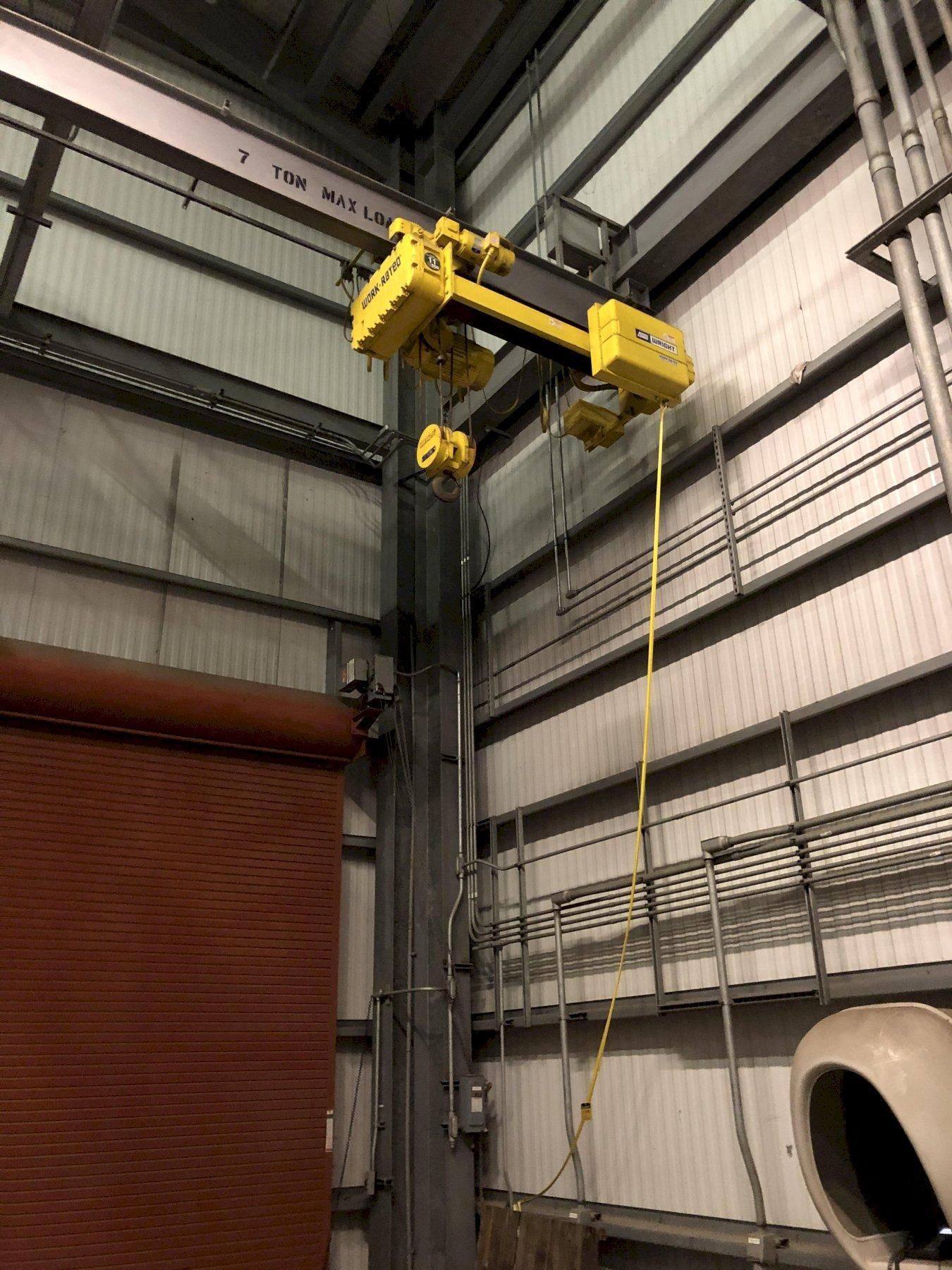 Wright 7 ton electric hoist with 3 way pendent controls and monorail