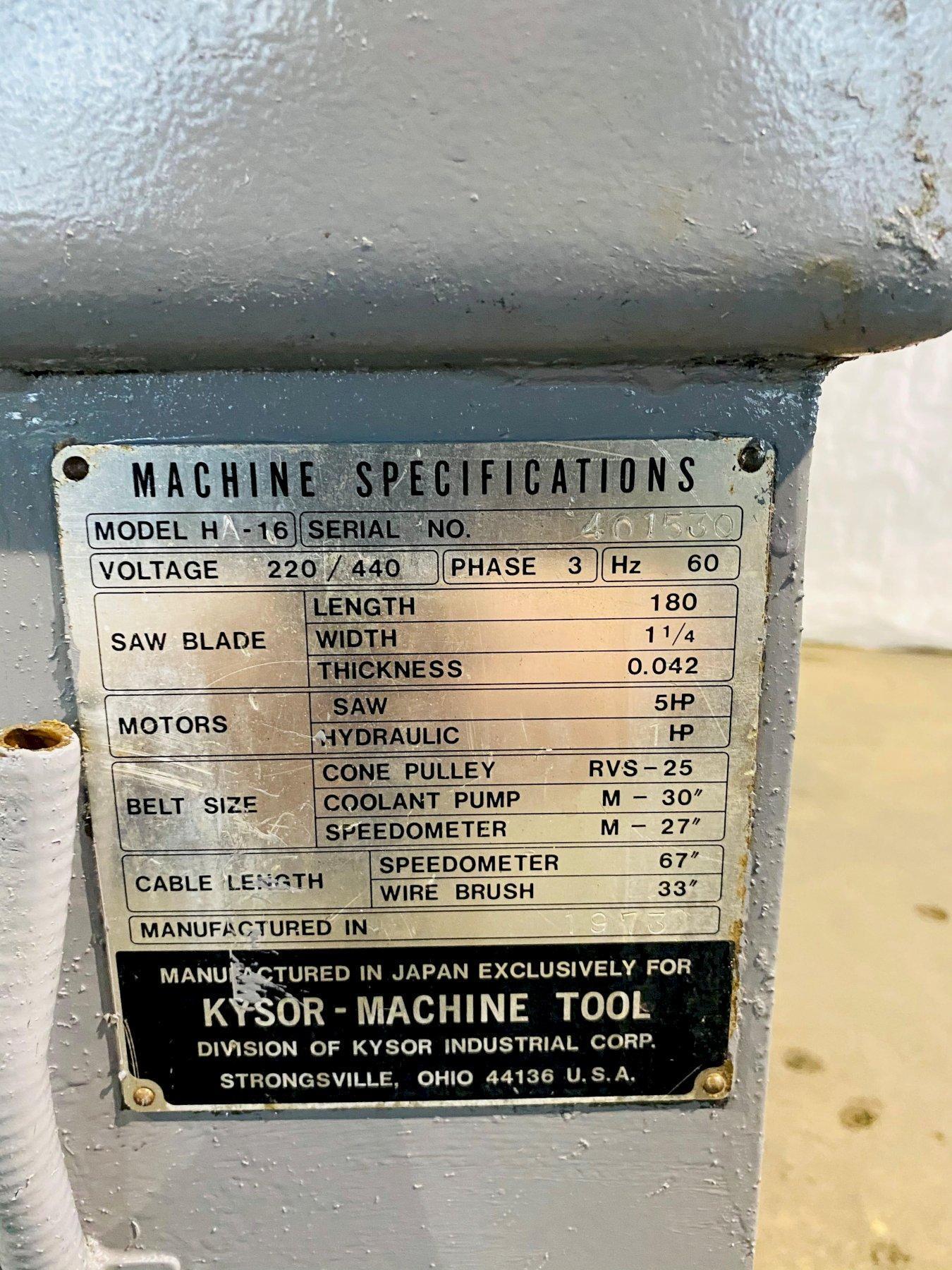 """18"""" X 16"""" KYSOR-JOHNSON HA-16 AUTOMATIC HORIZONTAL BANDSAW. STOCK # 1056520"""