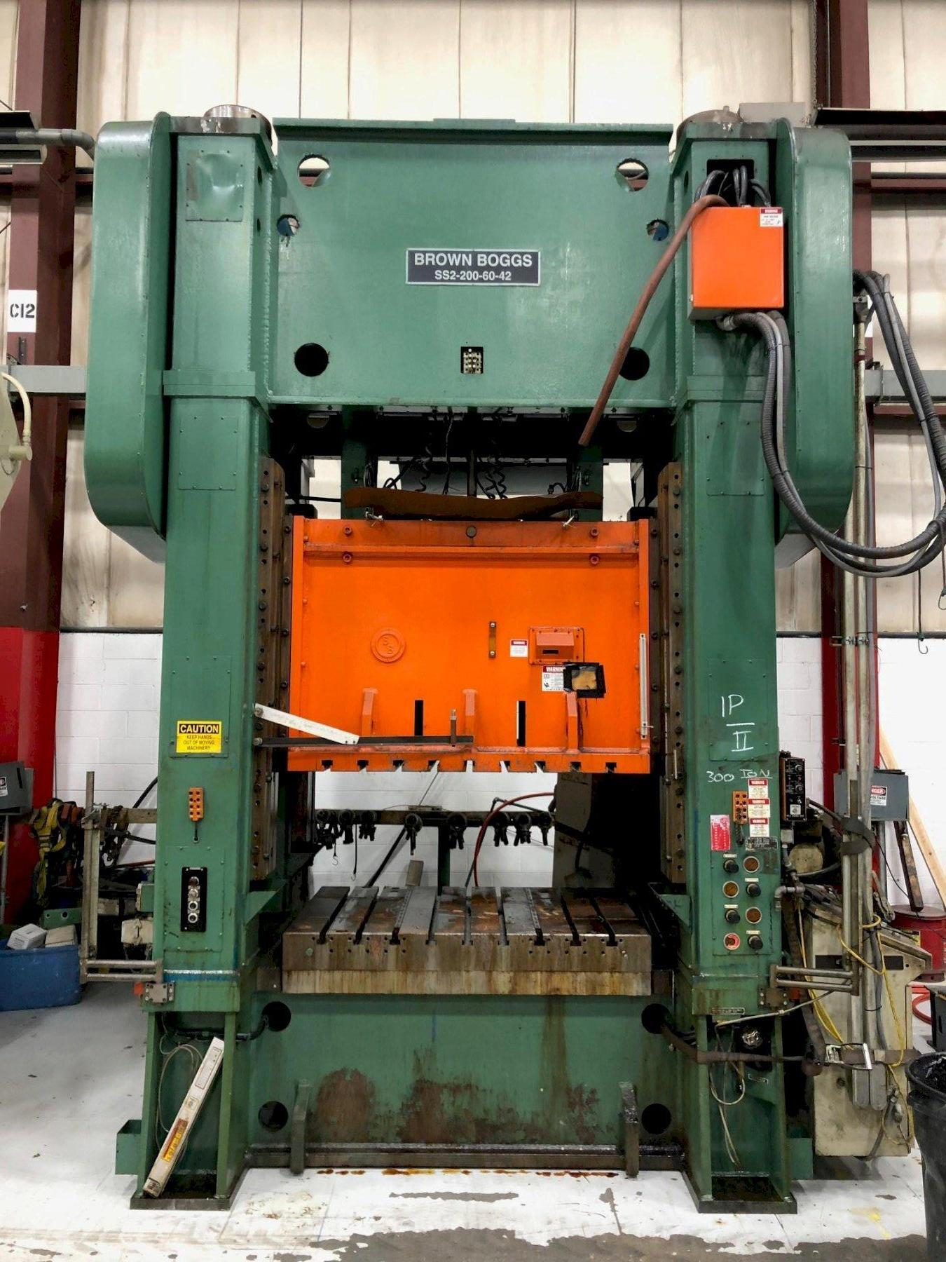 200 ton Brown Boggs SS2-200-60-42 Straight Side Press, New 1993