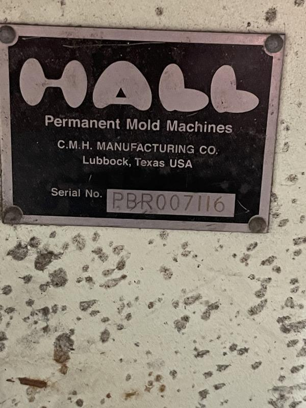 "Hall 90 degree tilt pour permanent molding machine s/n pbr4503, 18"" x 24"" platen size, set up for quick change with 30"" x 12"" opening"