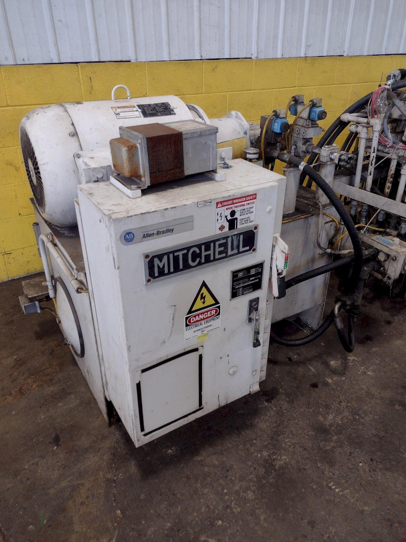 25,000 LB. MITCHELL MODEL #PP487 (4) DIE IN LINE TUBULAR CONVEYOR ROLL SHAFT END FORMING MACHINE: STOCK #15298