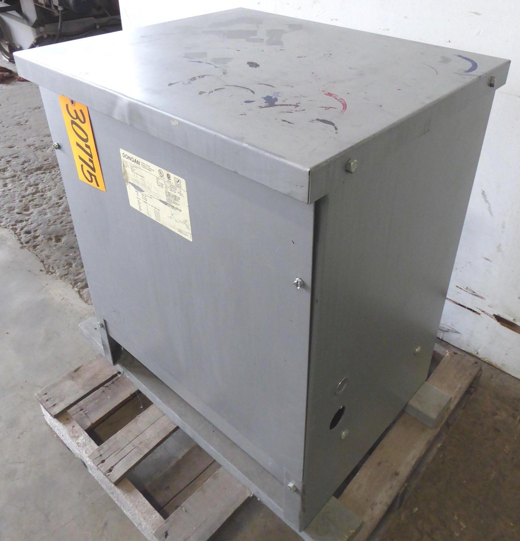 45 KVA Dongan Transformer No. 63-45-4970SH, 208/240 Primary Volts, 380Y/220V Secondary Volts, 3 Phase