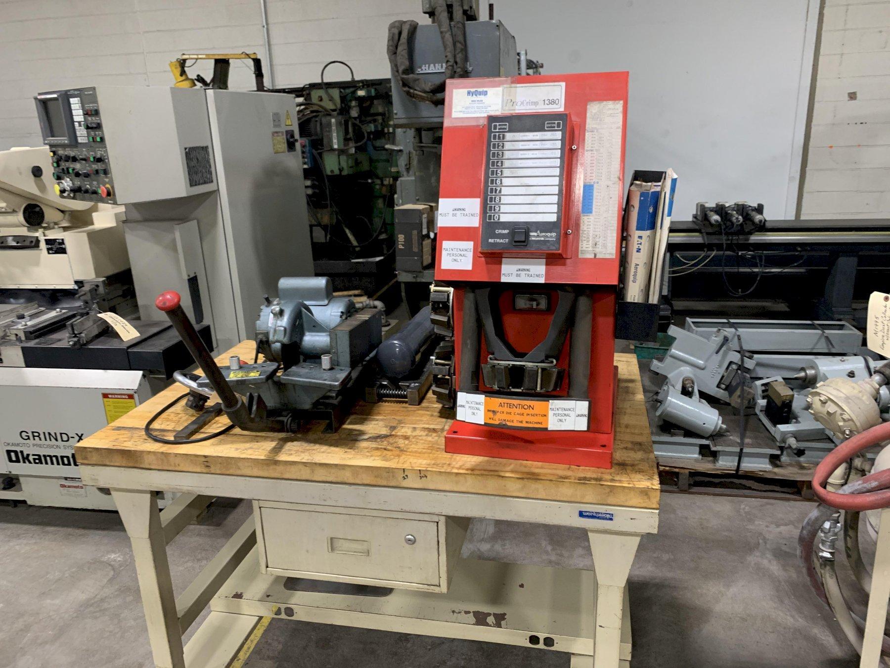 Eaton Aeroquip FT1380-115 Model A Crimp Machine Mounted on Workbench