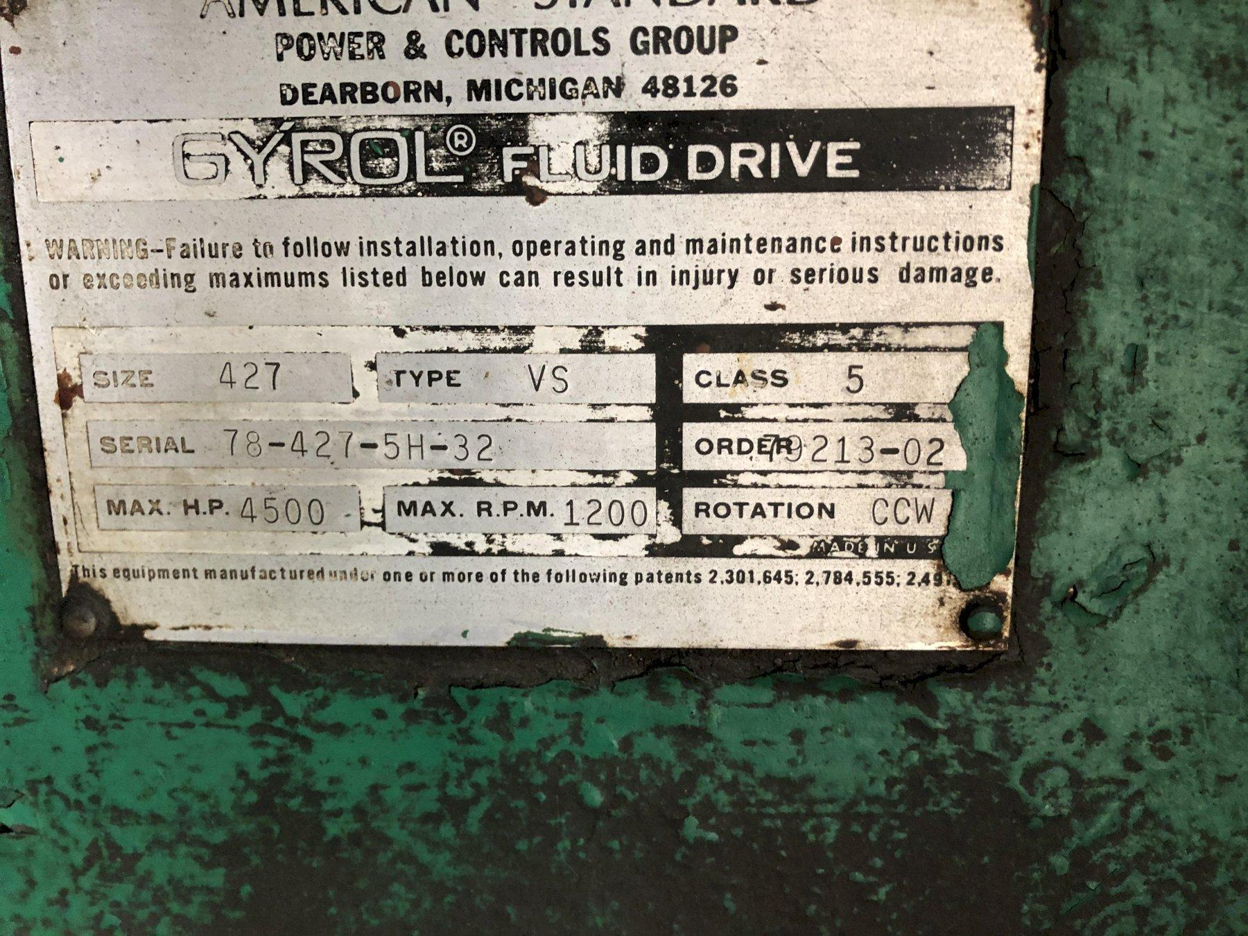 American size 427 type vs class 5 blower s/n 78-427-5h-32 rated at 1200 rpm with GE model 5k851281a4 4500 hp motor s/n en8406988 1185 rpm, 4000 volt