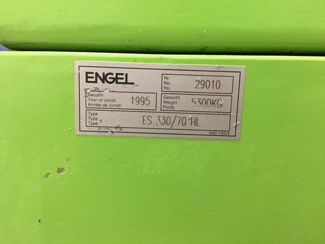Engel ES330/70 HL Used Injection Molding Machine, 77 US ton, Yr. 1995, 4 oz. Tie Barless