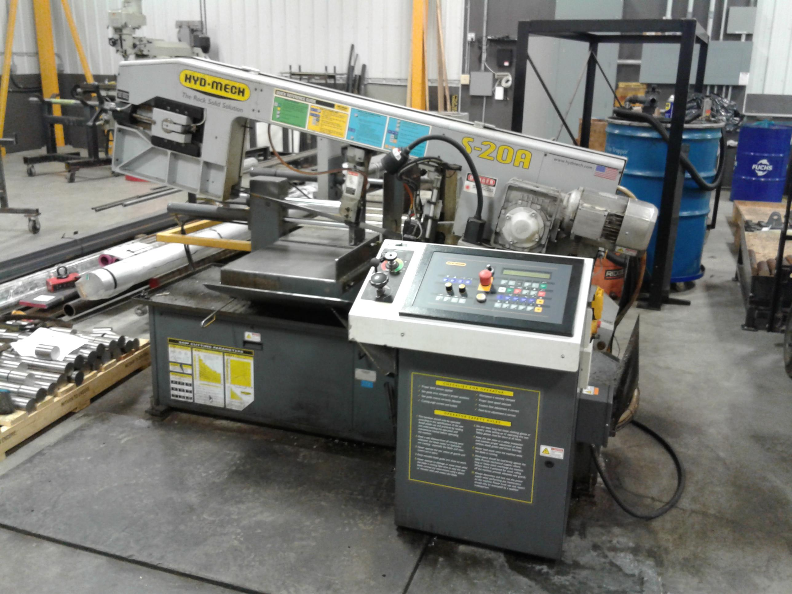 "Hyd-Mech S-20A Automatic Scissor-Type Horizontal Band Saw, 13"" x 18"" Capacity, 1"" Blade, PLC Control, Vices, 60° One-Way Miter, Out-Of-Stock Switch, Flood Coolant, 2011"