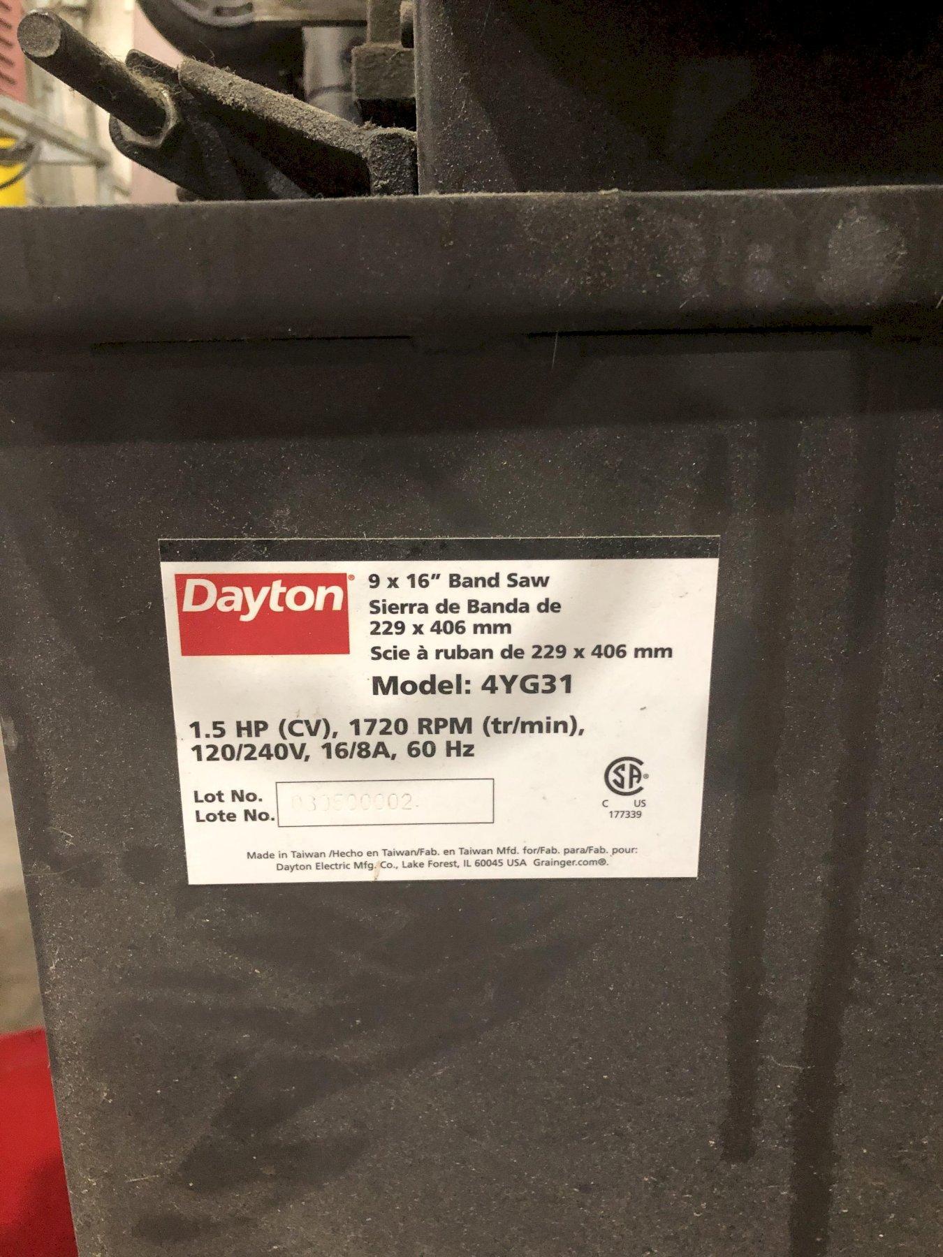 """9"""" x 16"""" DAYTON MODEL #4UG31 HORIZONTAL BANDSAW: STOCK #15068"""