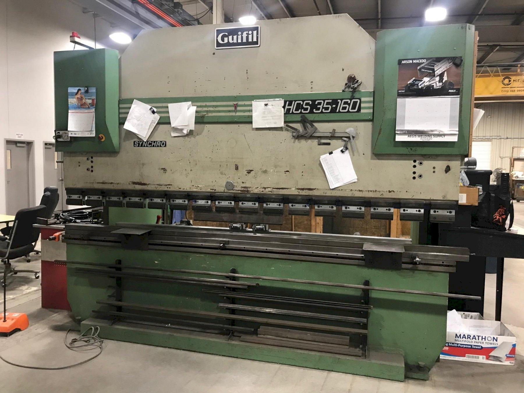 USED GUIFIL DOWNACTING HYDRAULIC PRESS BRAKE MODEL HCS 35-160, Year 1994, Stock # 10714
