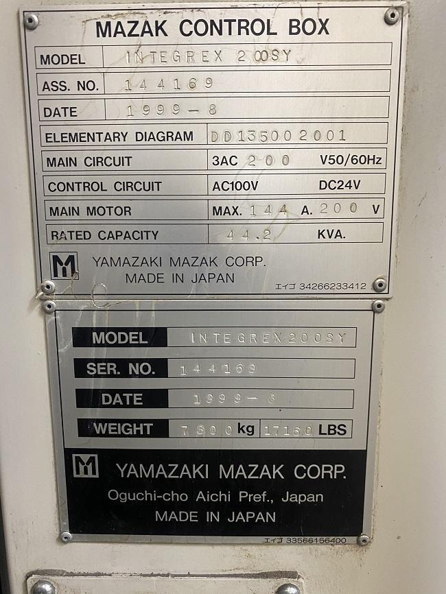 "MAZAK INTEGREX 200SY, Mazatrol 640MT CNC Control, 21"" Max Swing, 40"" Centers, 8"" 3-Jaw Chuck Main Spindle, 6"" 3-Jaw Chuck Sub Spindle, 5000 RPM Main, 5000 RPM Sub Spindle, 10,000 RPM Milling Spindle, B-Axis, C-Axis, Y-Axis, TSC, 40 ATC, New 1999."