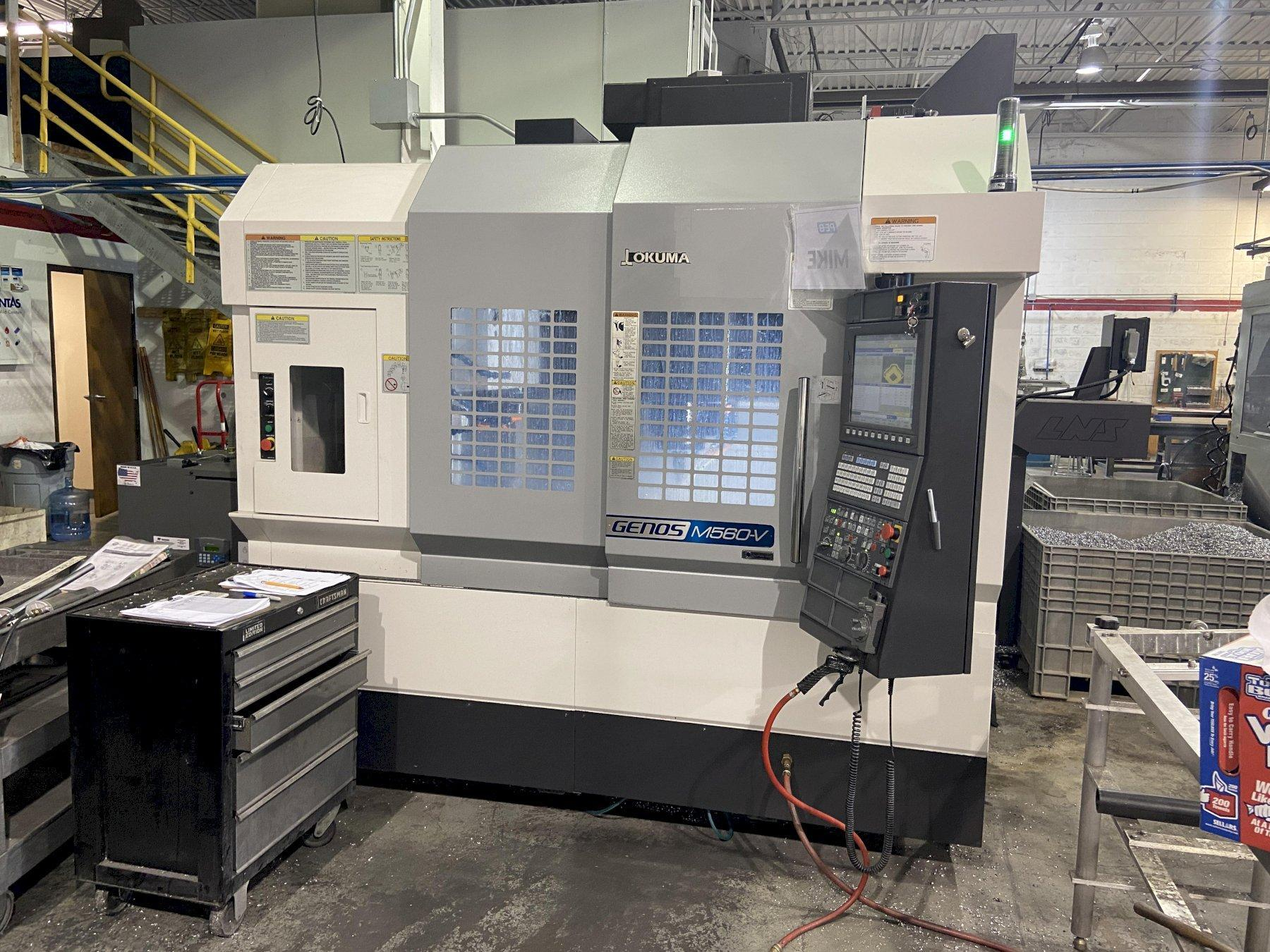 """Okuma Genos M560-V CNC Vertical Machining Center, P300MA, 41""""/22""""/18"""" Travels, 15K Spindle, 32 ATC, CTS, Rigid Tap, CAT 40, Very Low Hours, 2019"""