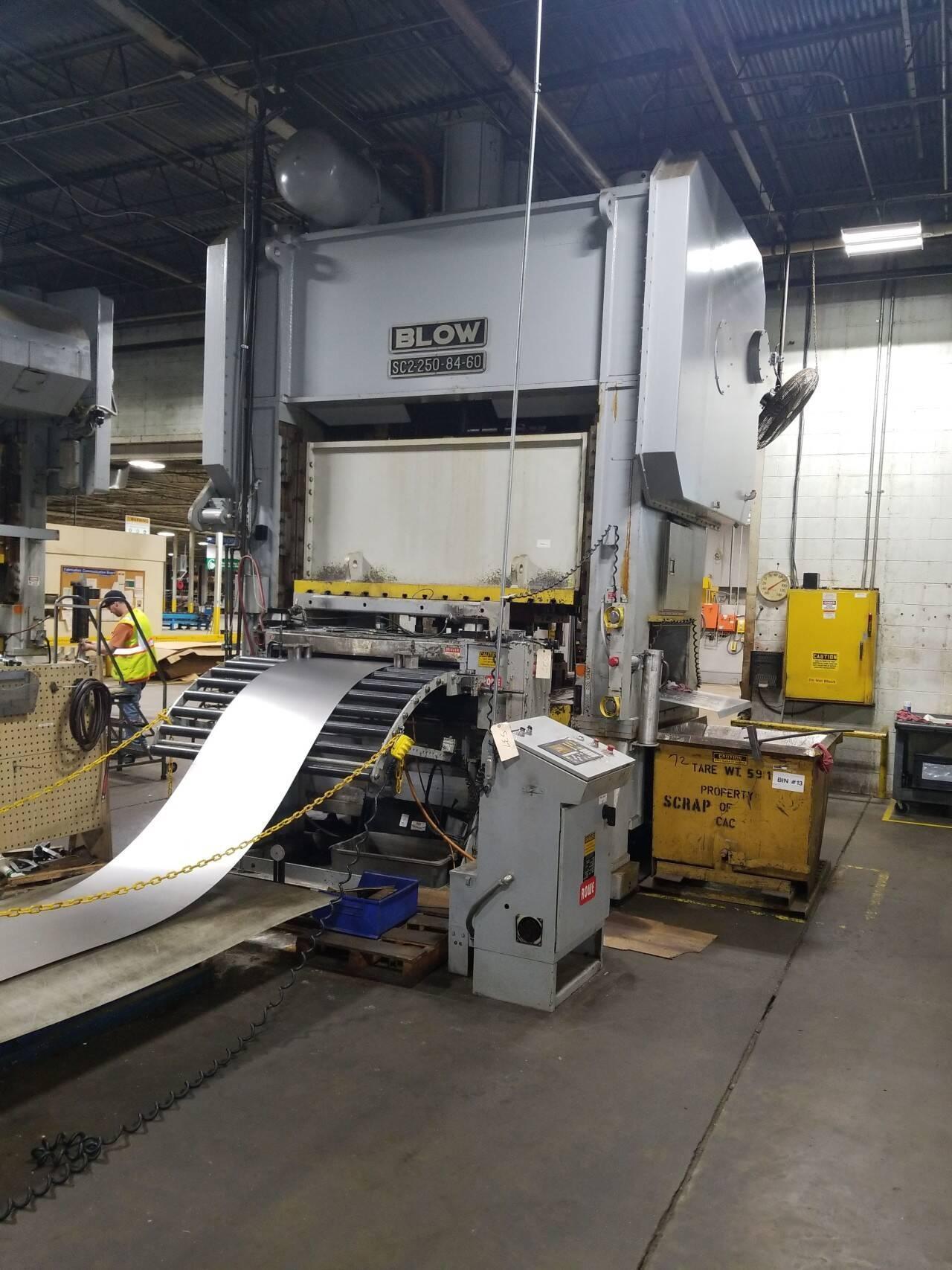250 ton Blow SC2-250-84-60 Straight Side Mechanical Press