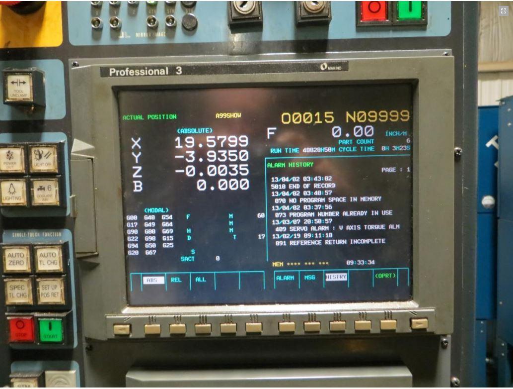 CNC Control Screen