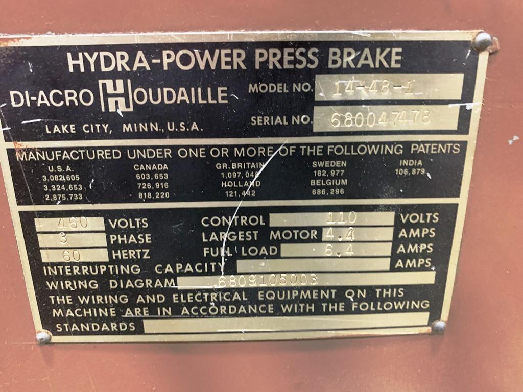 17 TON DIACRO MODEL 14-48-1 HYDRA-POWER PRESS BRAKE