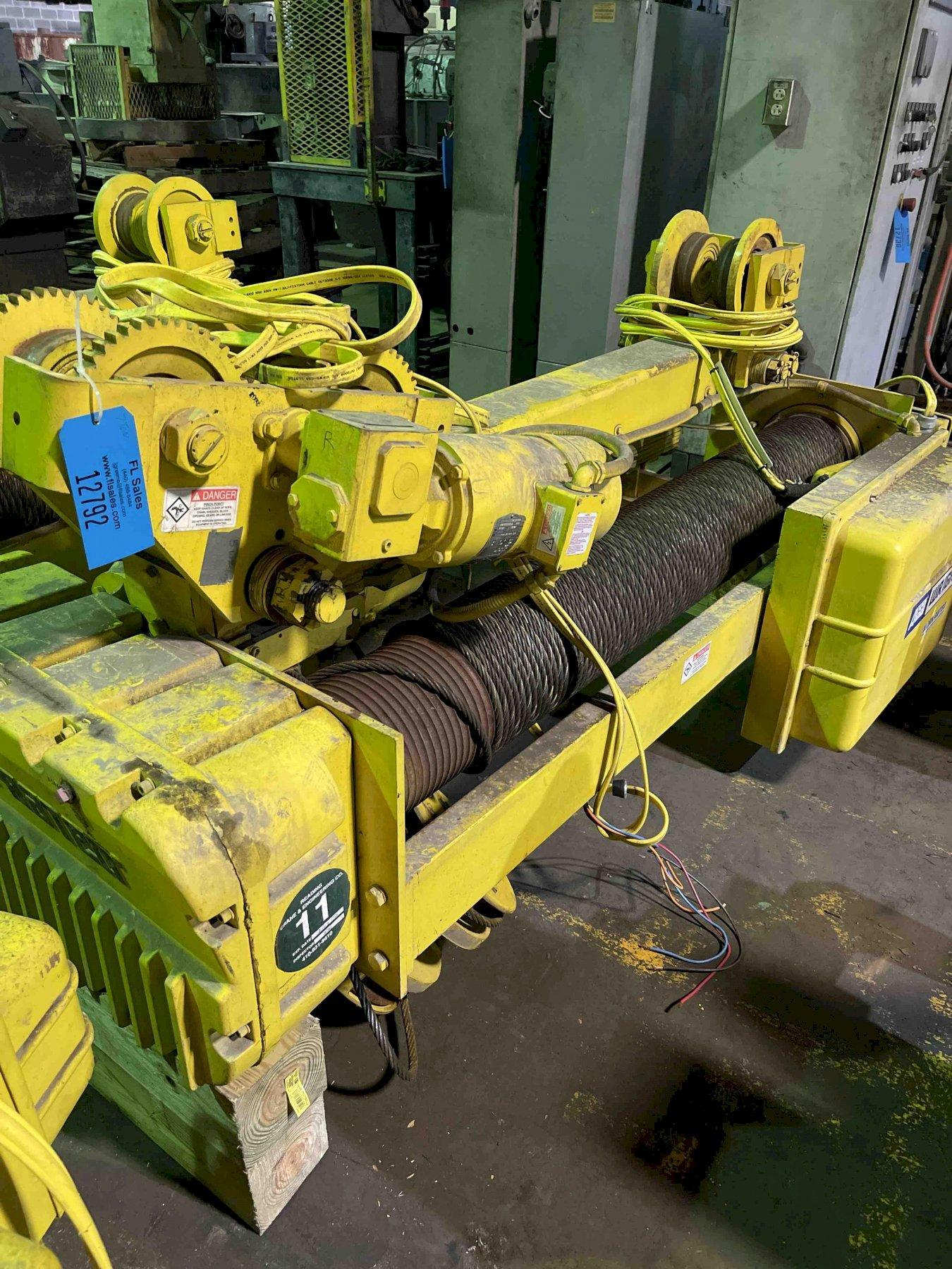 Wright 7 ton electric hoist Model C3W07 s/n 533-20-10351, wth pendent controls, drum # 5, 15/5 fpm, 59' lift, 460 volt