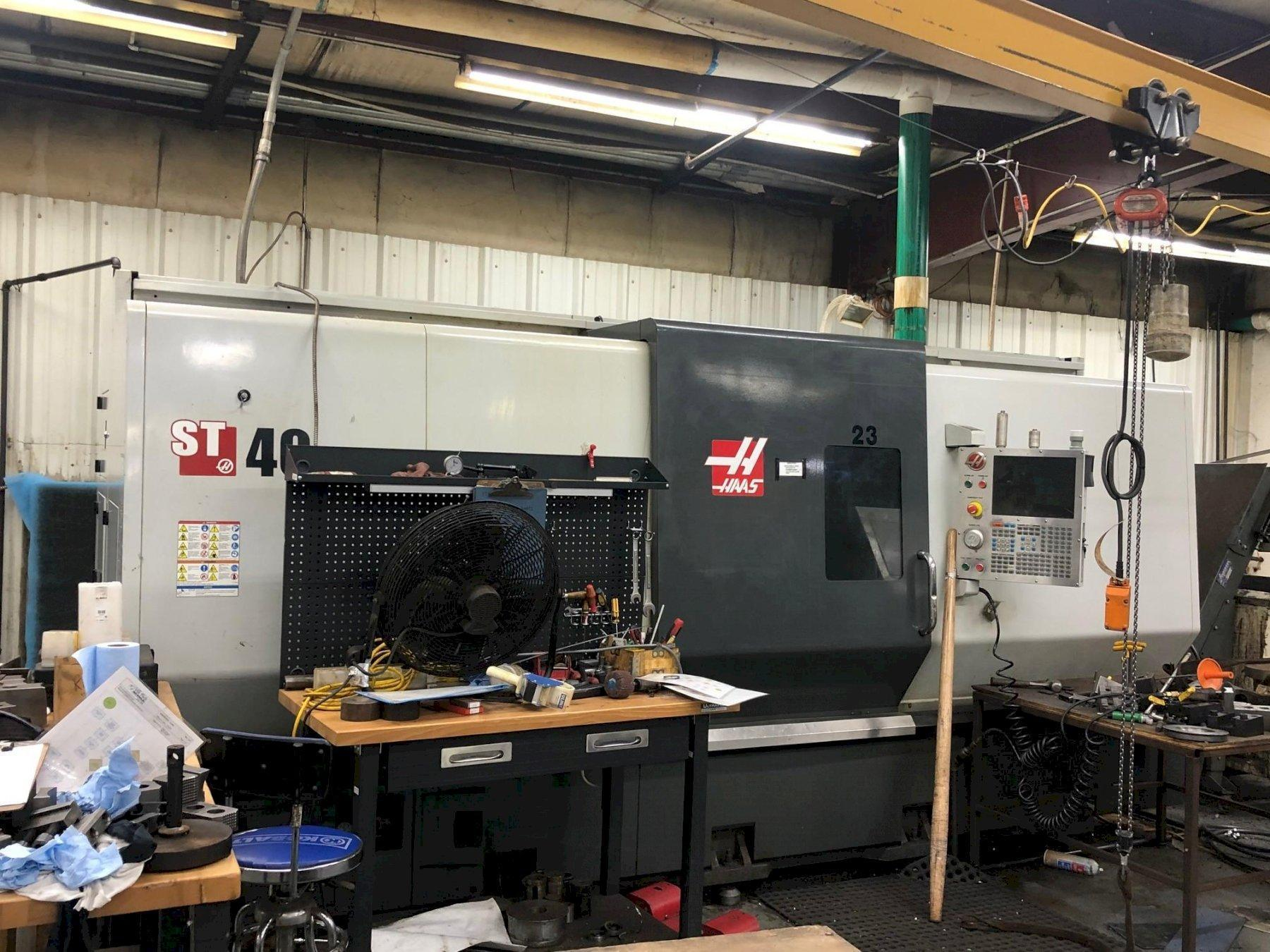 Haas ST-40 CNC Lathe, with 18' 3-Jaw Chuck, 12 Position Turret, Tailstock, Chip Conveyor, Haas Ctrl, Tooling Touch Probe,