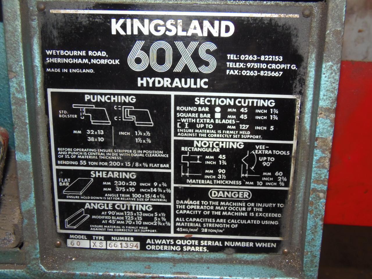 60 TON KINGSLAND HYDRAULIC IRONWORKER, MODEL 60XS