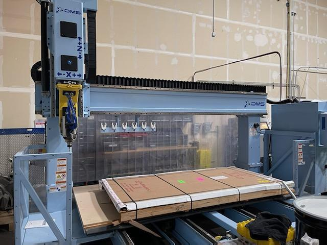 DMS 5T5-10-5-66x/E CNC Router 2020 with: Fagor 8055 CNC Control, Renishaw Probe, DMS Tool Height Sensor, and Becker 15-HP Vacuum Pump.