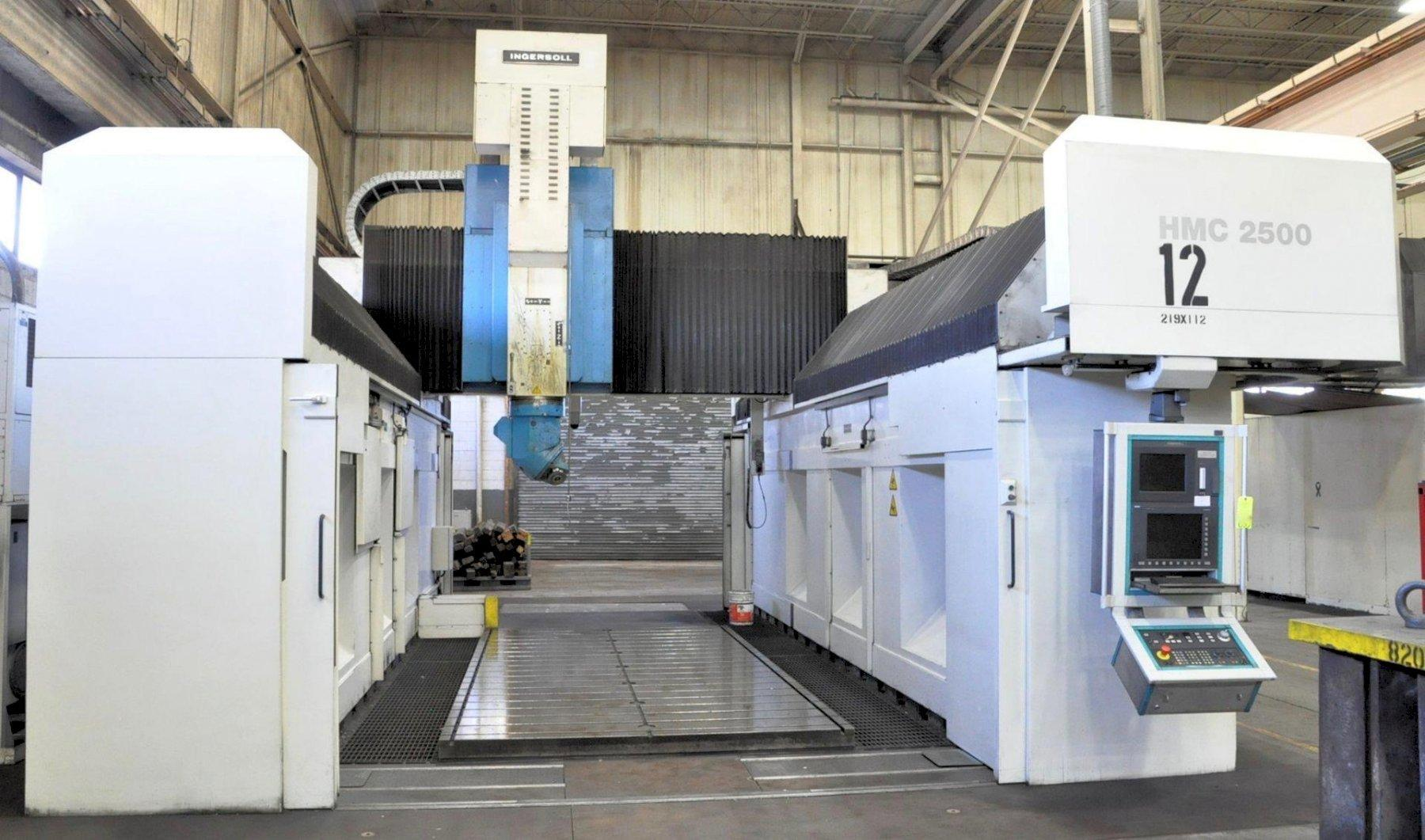 "Ingersoll Model HMC-2500, 5-Axis Gantry Type High Speed CNC Vertical Machining Center, 197"" x 98"" Table Size, 226"" X-Axis, 111"" Y-Axis, 59"" Z-Axis, 67"" Height Under Spindle, Automatic Spindle Changer, Siemens Sinumerik 840D CNC Controller, Oil Cooler, Chip Conveyor, 2001, (2) Avail"