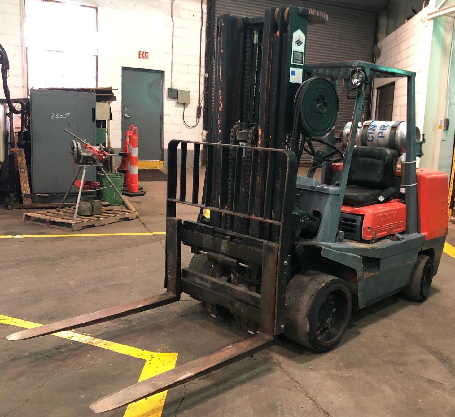 9000 Lb. Toyota Forklift No. FGC45, Hard Tires, LP, Triple Stage, Side Shift