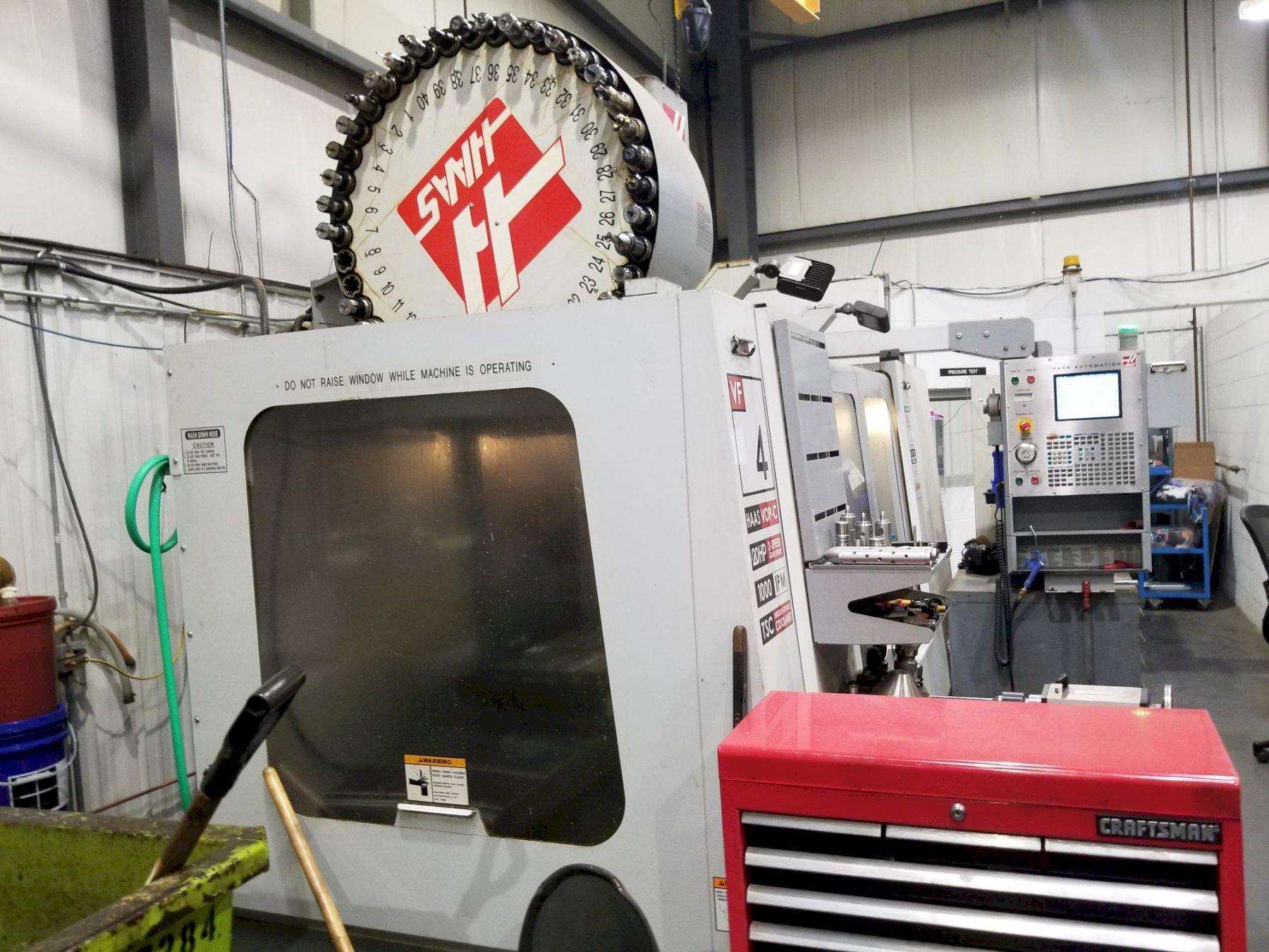 Haas VF-4 CNC Vertical Machining Center with Thru Spindle Coolant, Side Mounted, Tool Changer, and Probing