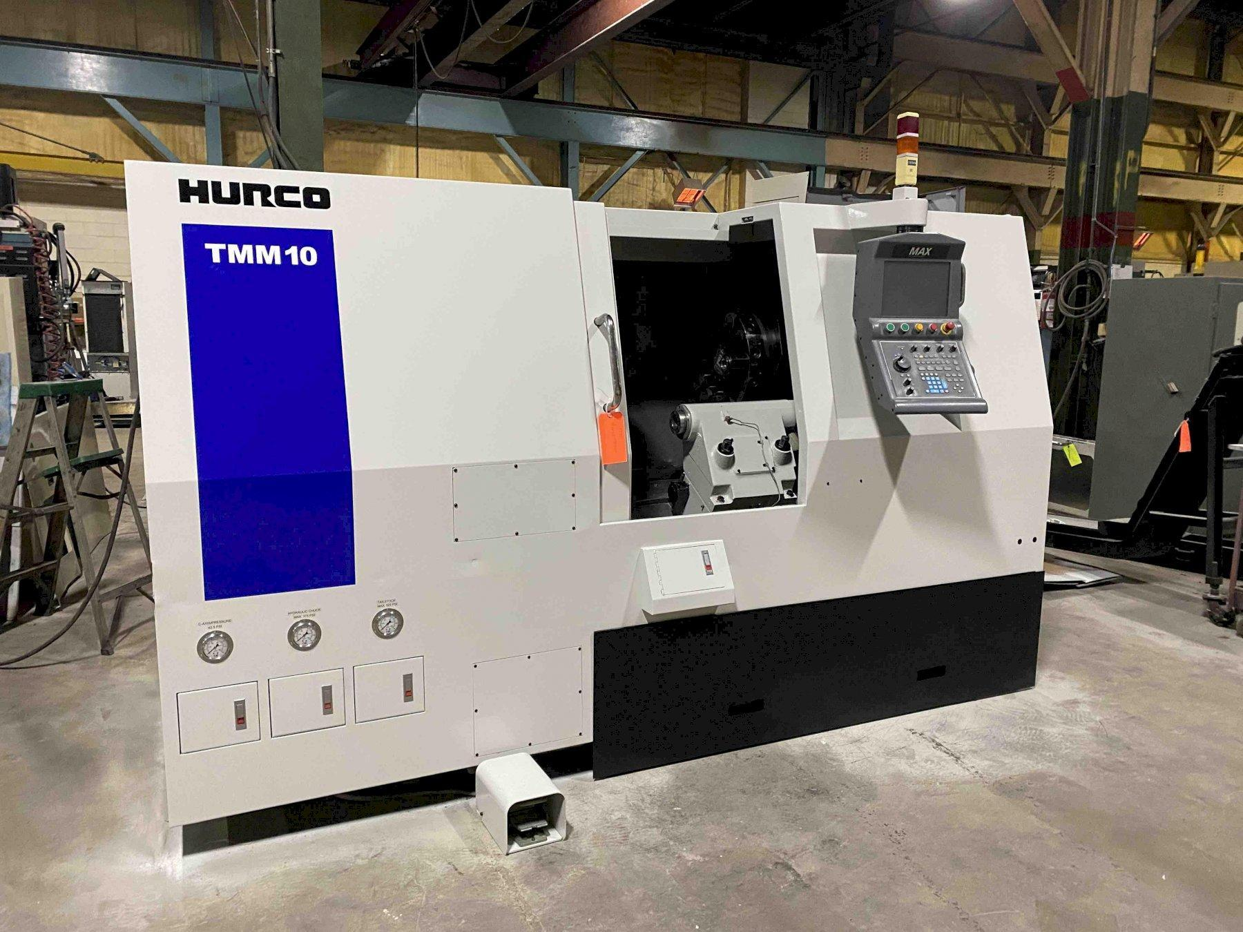 "Hurco TMM-10 CNC Lathe, MAX Control, 8"" Chuck, 23.5"" Swing, 28"" Centers, 3"" Bar Capacity, Milling, Parts Catcher, Chip Conveyor,  Tool Probe, 2010"