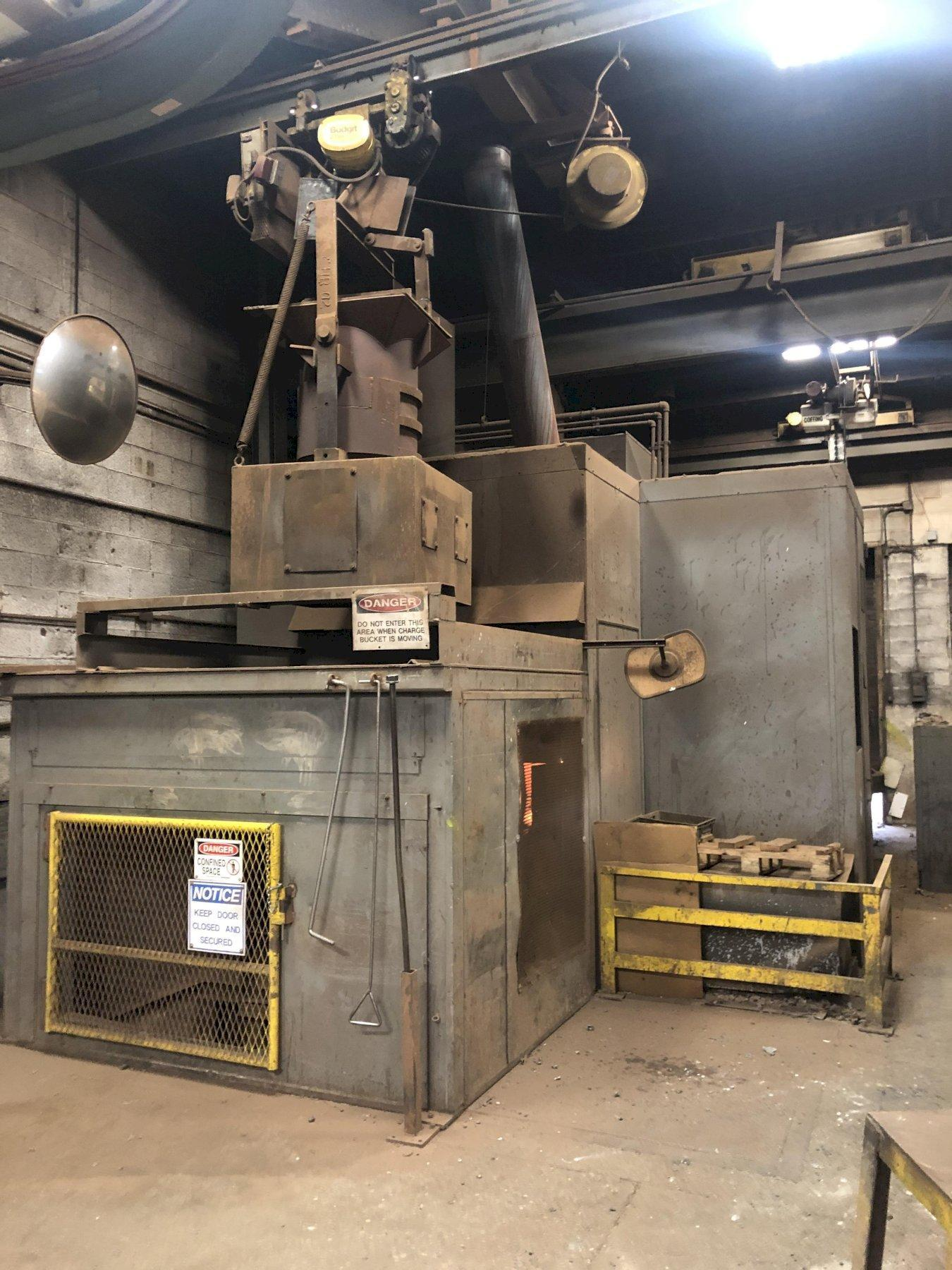 1988 INDUCTOTHERM FURNACE SYSTEM TO INCLUDE BALTEAU  INCOMING TRANSFORMER NEW 2020, 1700 KW, 12470/7200 PRIMARY, 575 SECONDARY, POWER CABLES FROM TRANSFORMER TO THE POWER SUPPLY, INDUCTOTHERM MODEL 1500-2 POWERMELT FURNACE POWER SUPPLY S/N 88-26355-247-11 RATED AT 1500 KW, 300 HZ., INTERCONNECTING BUSS AND CABLES, 2- 6000# STEEL SHELL HYDRAULIC TILTING FURNACES WITH STANDS, HYDRAULIC SYSTEM WITH PUMPS, WATER SYSTEM WITH PUMPING STATION AND NEW 2019 EVAPCO COOLING TOWER MODEL ATWB-4-3P12-Z SN 19-871933, SPARE PARTS, LINING FORMS