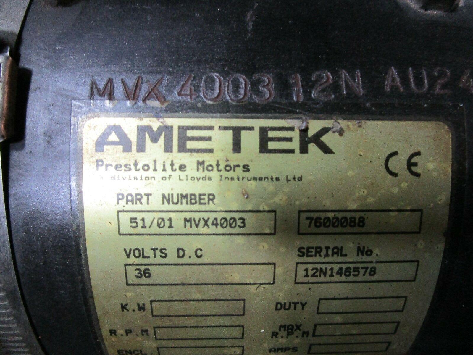 Toyota Fork Lift Drive Motor and Gear Box Ametek Prestolite MVX400 36V (Left)