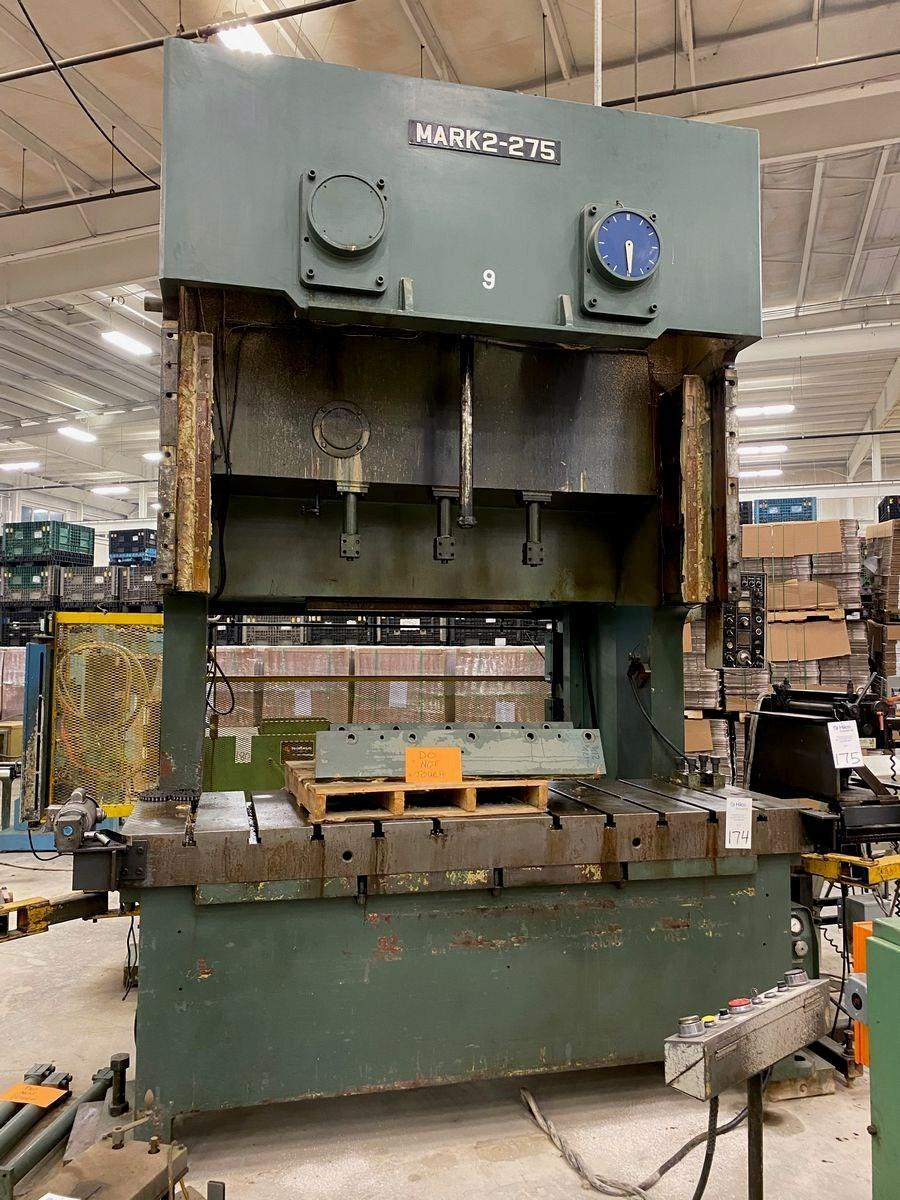 "275 TON HELLER SUTHERLAND MARK 2-275 GAP FRAME PRESS, 9.84"" STR, 21.83"" DIE HEIGHT, 4.72"" ADJ, 106.2 X 36.2"" BED, 22-40 SPM VARI"