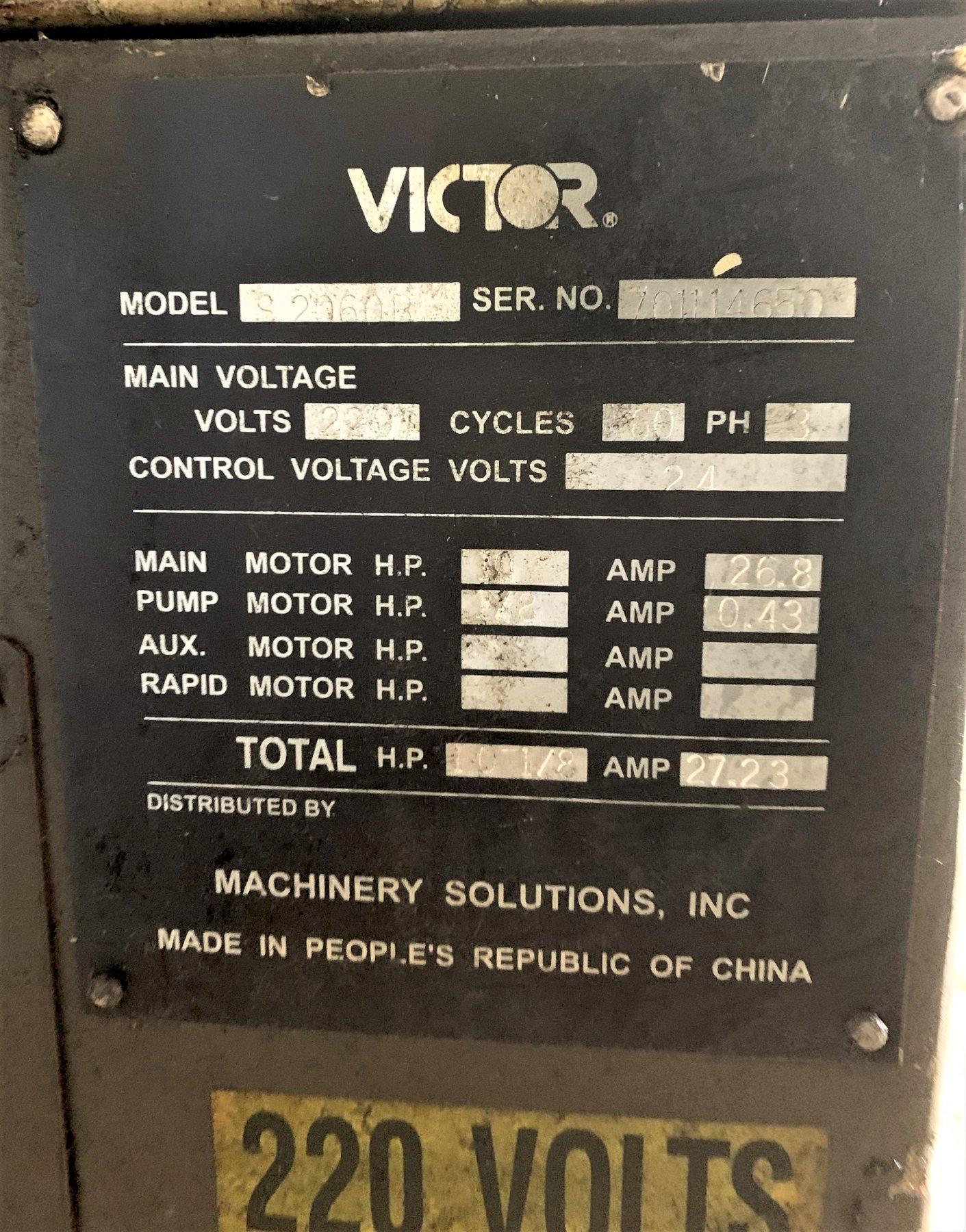 Victor Model S2060B Engine Lathe, S/N 701114650