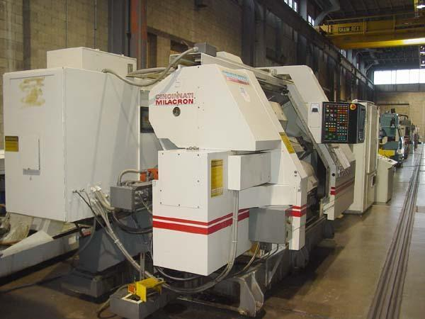 """CINCINNATI Cinturn 300 MT-1000, Acramatic 950 CNC Control, 4-Axis Upper and Lower Turrets, Live Tooling, Steady Rest, 22"""" Swing, 12.5"""" Swing over Turret, Tailstock with 40"""" Centers, New 1992."""