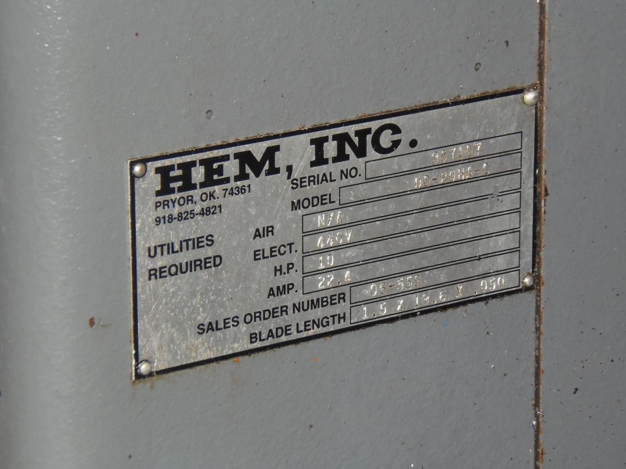 "HEM DC-20HA DUAL COLUMN HORIZONTAL BANDSAW, 20"" x 20"",  72-400 SFPM, 2007"