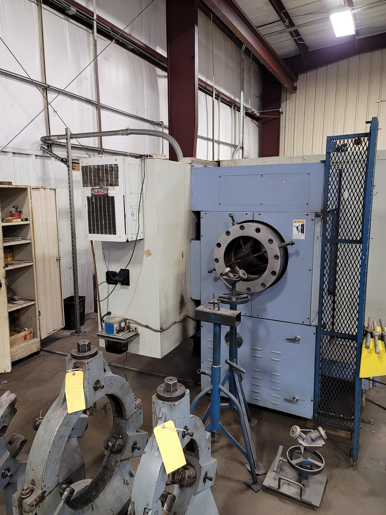"""USED, 38"""" X 160"""" KINGSTON MODEL LC38X160 CNC HOLLOW SPINDLE FLAT BED LATHE"""