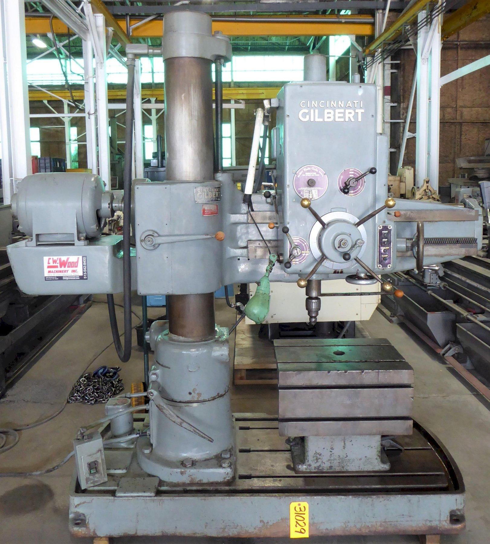 3′ x 9″ Cincinnati-Gilbert Radial Drill, Box Table, 5 HP