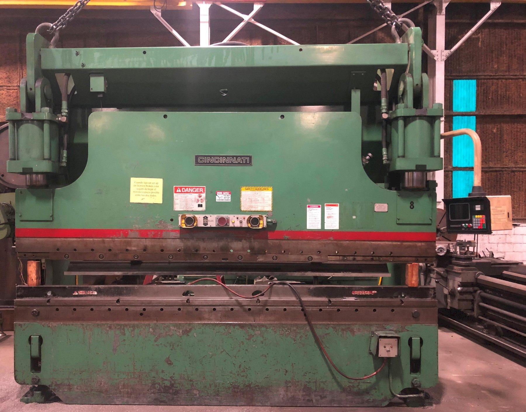 "230 Ton CINCINNATI Hydraulic Press Brake 230CB10, 12' O.A., 10'6"" B.H., 10"" Str., Hurco B.G., Clean"