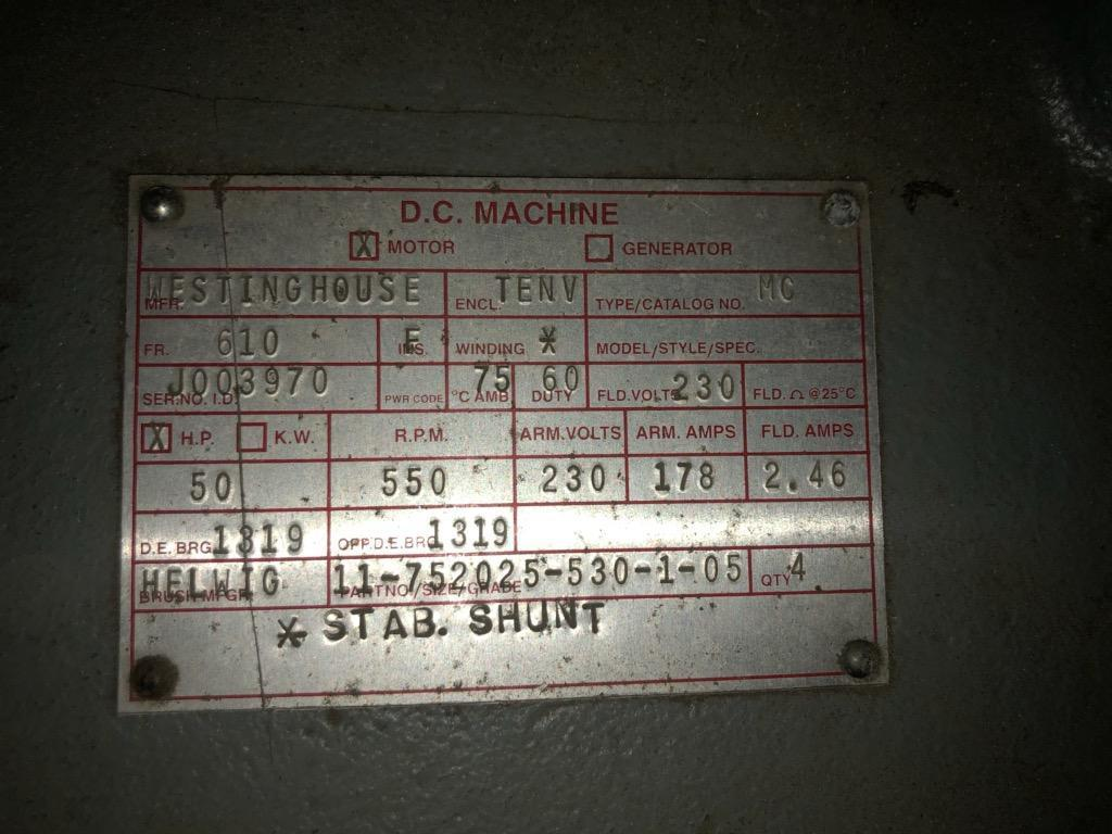 50 HP WESTINGHOUSE D.C. MACHINE MILL MOTOR