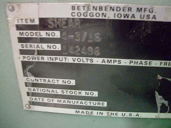 "4' x 3/16"" BETENBENDER HYDRAULIC POWER SQUARING SHEAR, Model 4-3/16, New 1998."