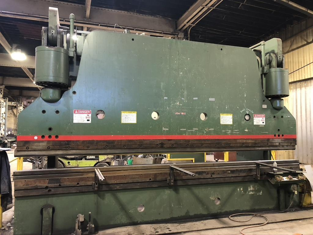 500 TON X 18/14' Cincinnati Hydraulic Press Brake,  Model 500FM X 14, new 1990, in plant under power