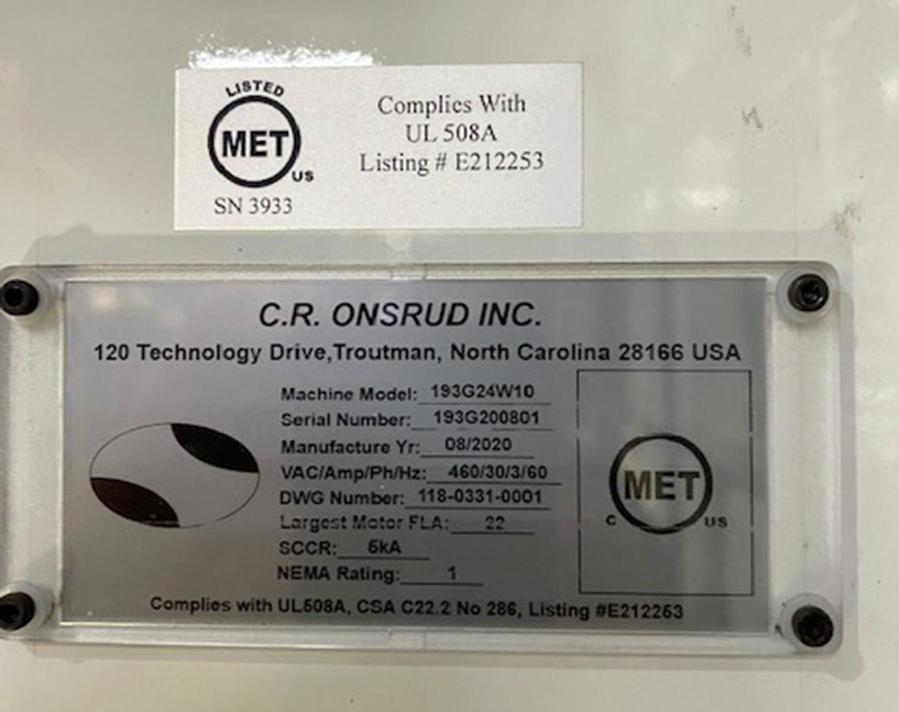 UNUSED, C.R. ONSRUD MODEL 193G24W10 G-SERIES GANTRY TYPE CNC ROUTER