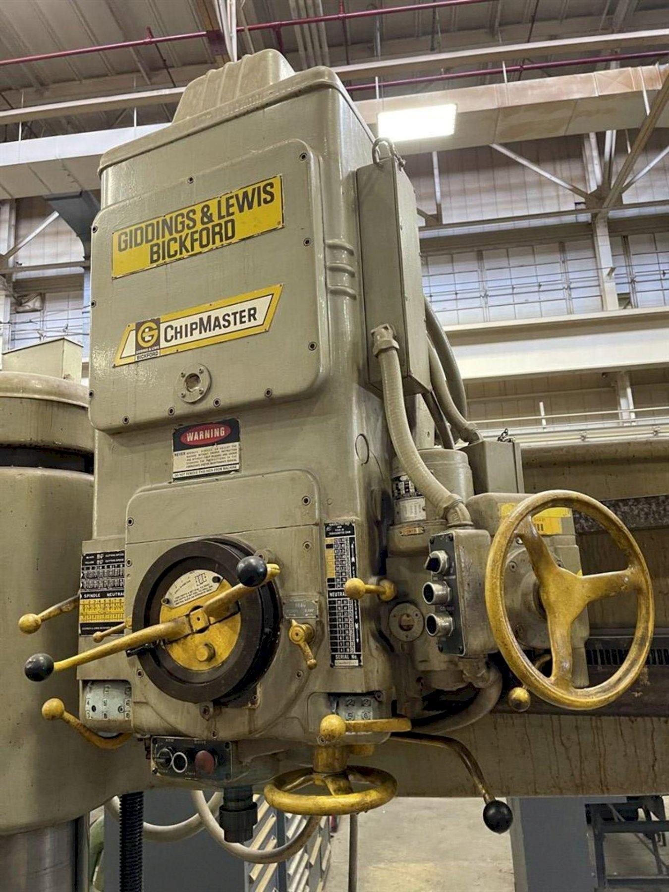 7' GIDDINGS & LEWIS BICKFORD CHIPMASTER RADIAL ARM DRILL. STOCK # 0521021