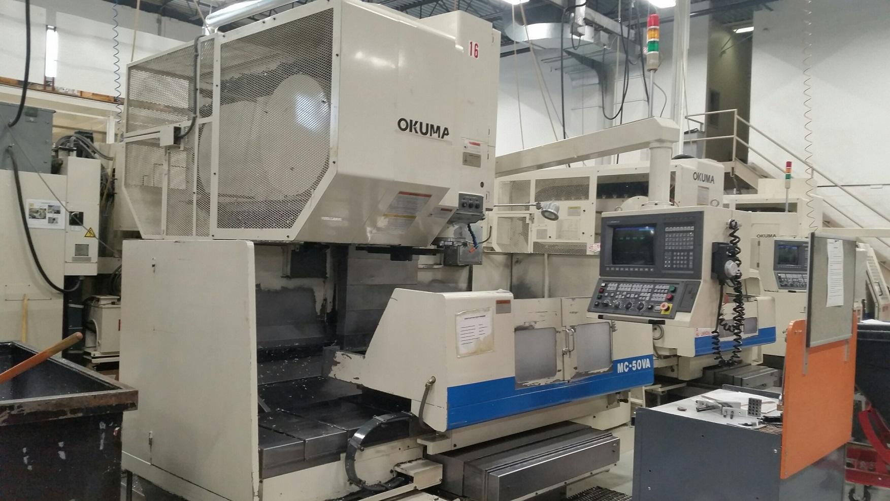 "OKUMA MC-50VA CNC VERTICAL MACHINING CENTER, OSP 7000, 41""/20""/22"" Travels, 32 Position ATC, 5000 RPM, 50 Taper, DNC-B, Helical Cutting, 1998"