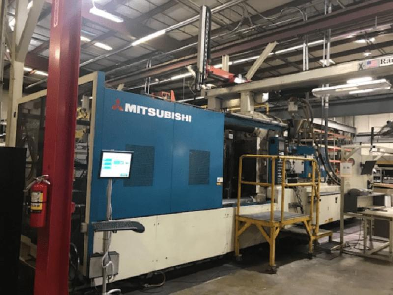 Mitsubishi 1450MMIII240W Used Injection Molding Machine, 1450 US ton, Yr. 2004, 220 oz.