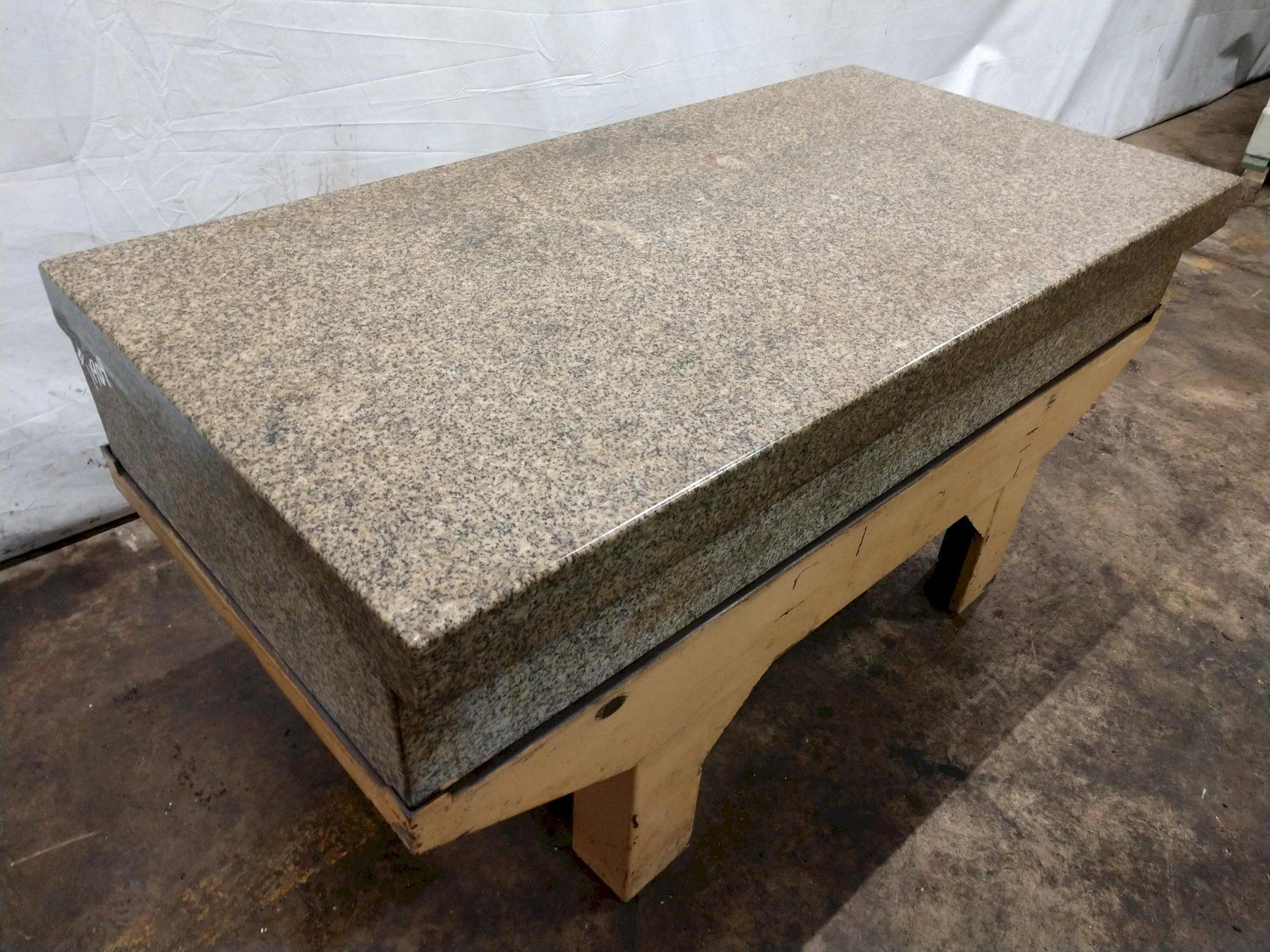 """36"""" X 72"""" X 12"""" HERMAN 2-LEDGE GRANITE SURFACE PLATE WITH STEEL STAND: STOCK 11909"""
