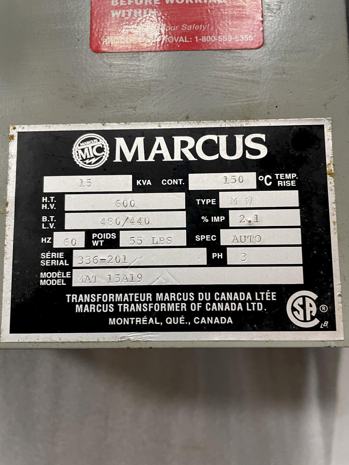 15 KVA MARCUS TRANSFORMER, 600-480/440/3