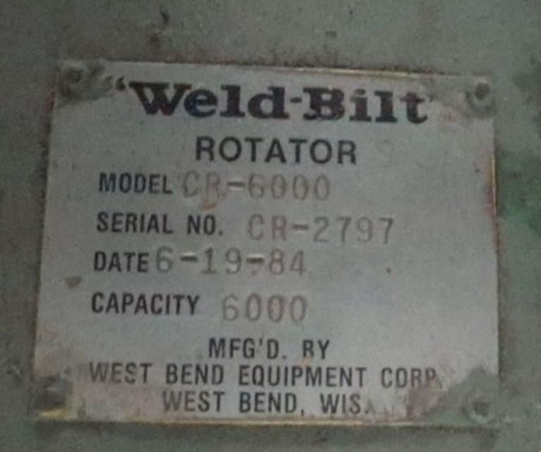 6,000 LB WELD-BILT MODEL #CR-6000  UPENDER / COIL FLIPPER: STOCK #15073