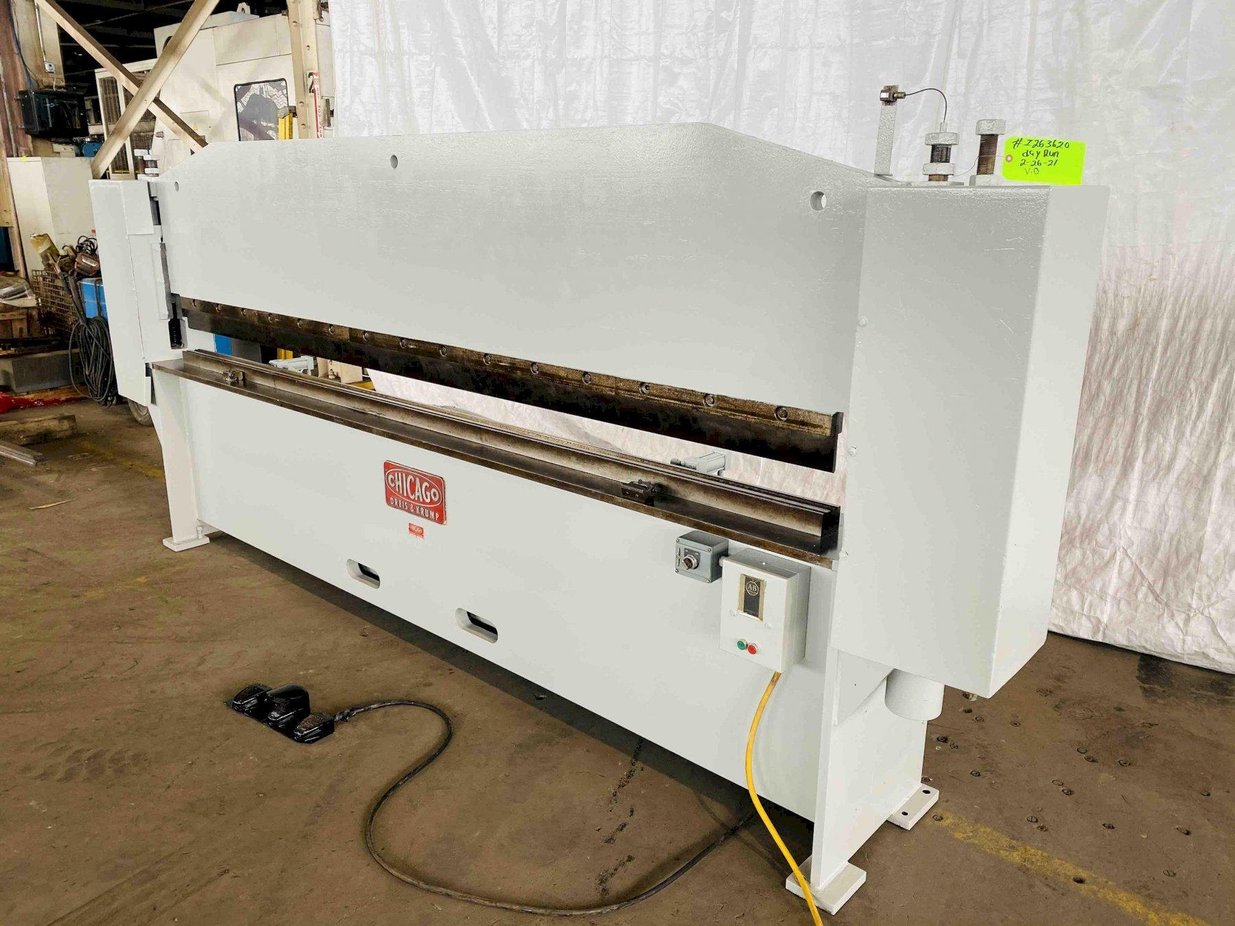 16 GAUGE X 10' CHICAGO DRIES & KRUMP MODEL SBA-104 SPEEDIBENDER SHEET BENDER BRAKE. STOCK # 1263620