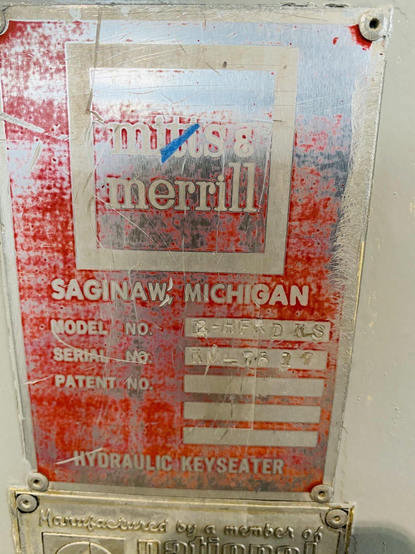 "1.25"" X 12"" MITTS & MERRILL MODEL # 2-HFRD-KS HYDRAULIC KEYSEATER. STOCK # 1262620"