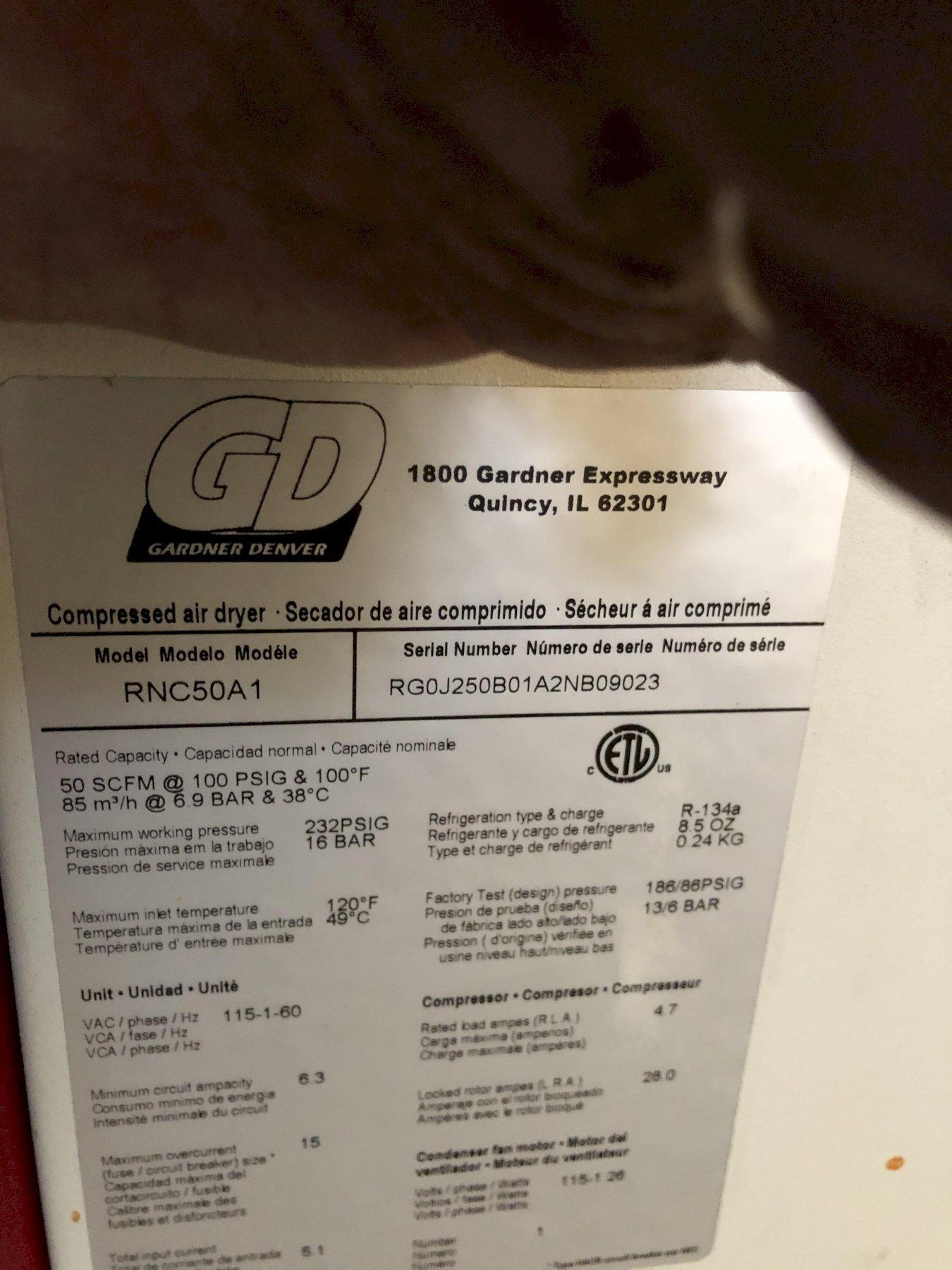 Gardner Denver model rnc50a1 compressed air dryer s/n rg0j25b01a2nb09023 rated at 50 scfm