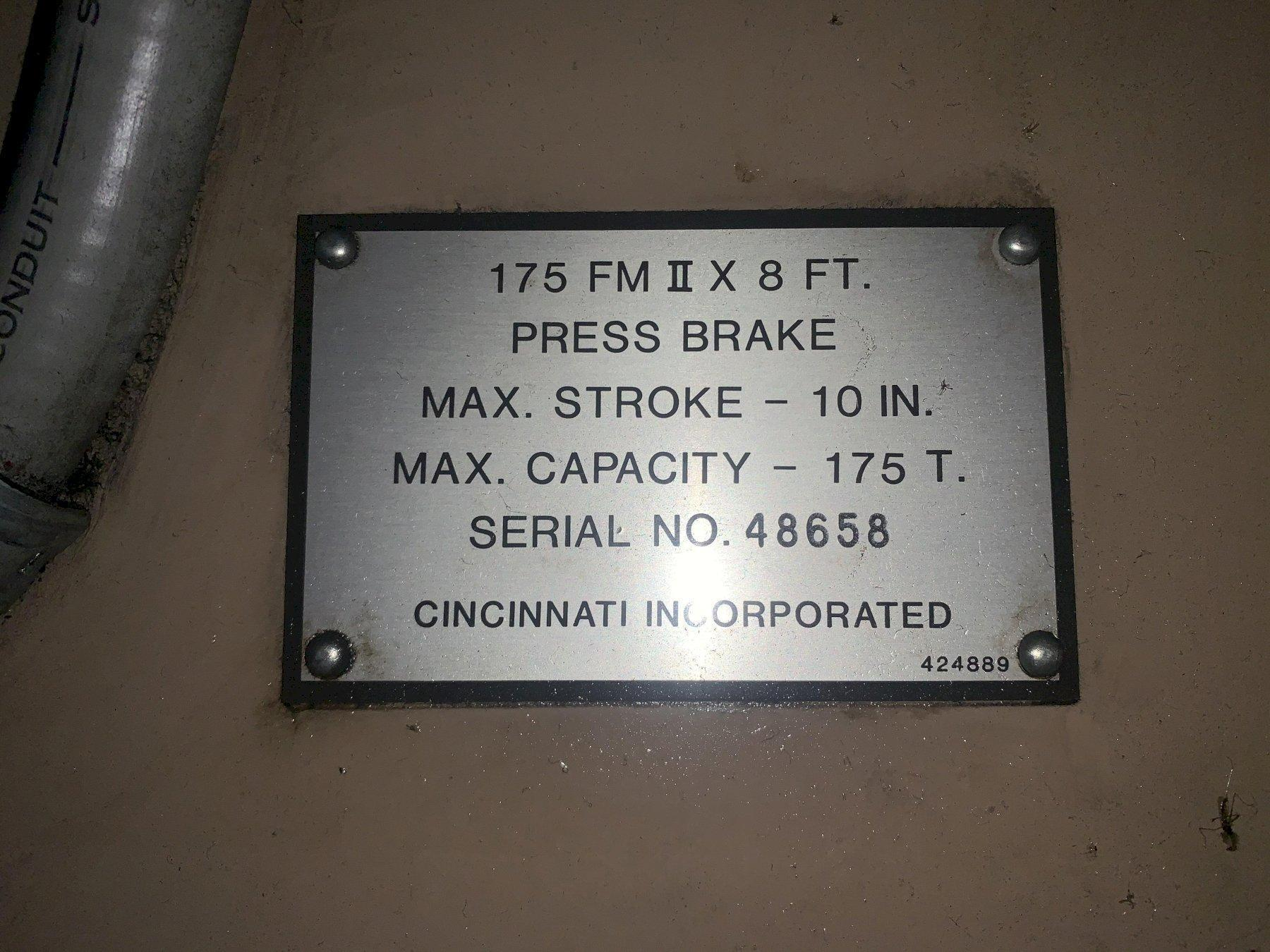 175 TON X 10' CINCINNATI MODEL #175-FMII FORM MASTER HYDRAULIC CNC PRESS BRAKE. STOCK # 1801420