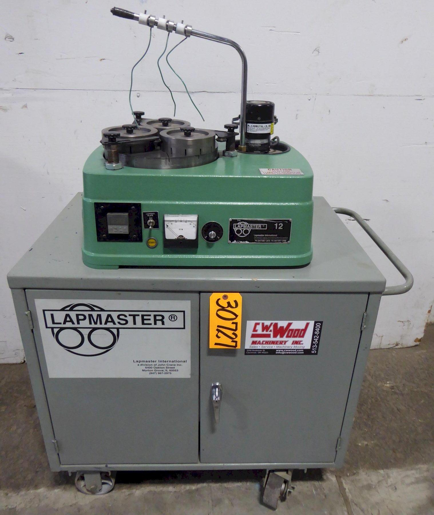 """12"""" Lapmaster Lapping Machine No. 12, (3) Rings, Open Face, 1 Phase, Excellent"""